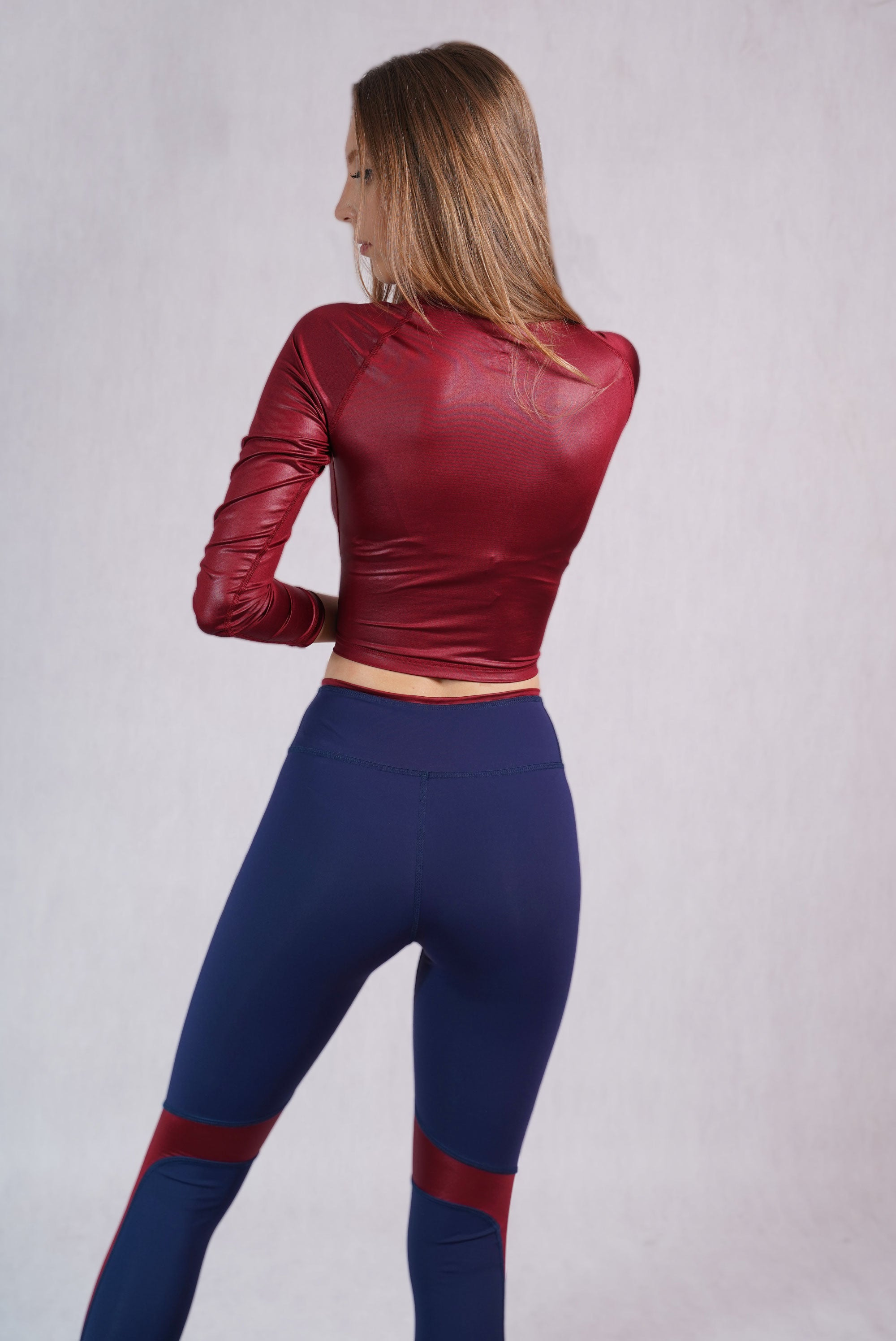 Glossy Bordeaux Slim Fit Crop Top - C142015