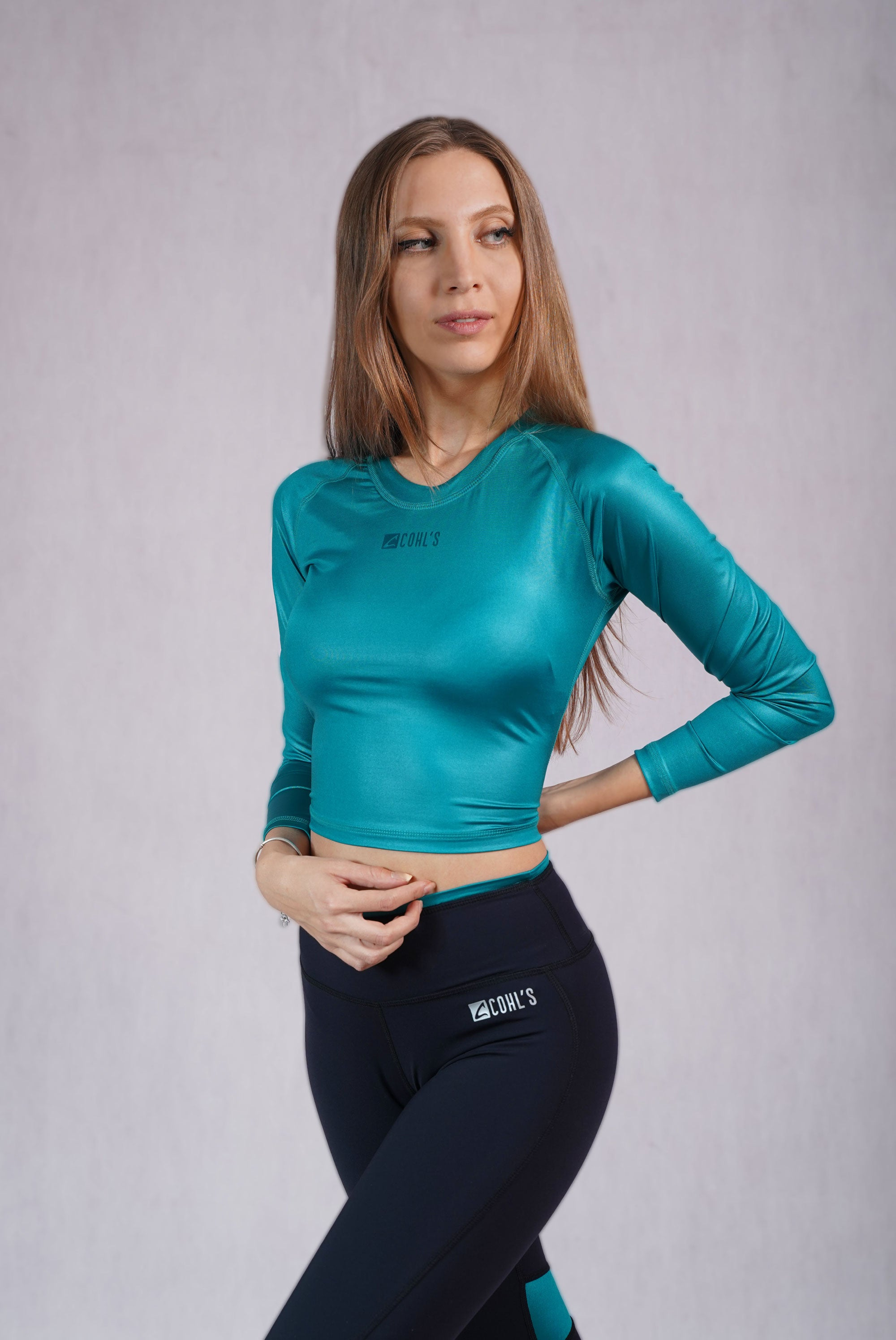 Glossy Emerald Slim Fit Crop Top - C142015