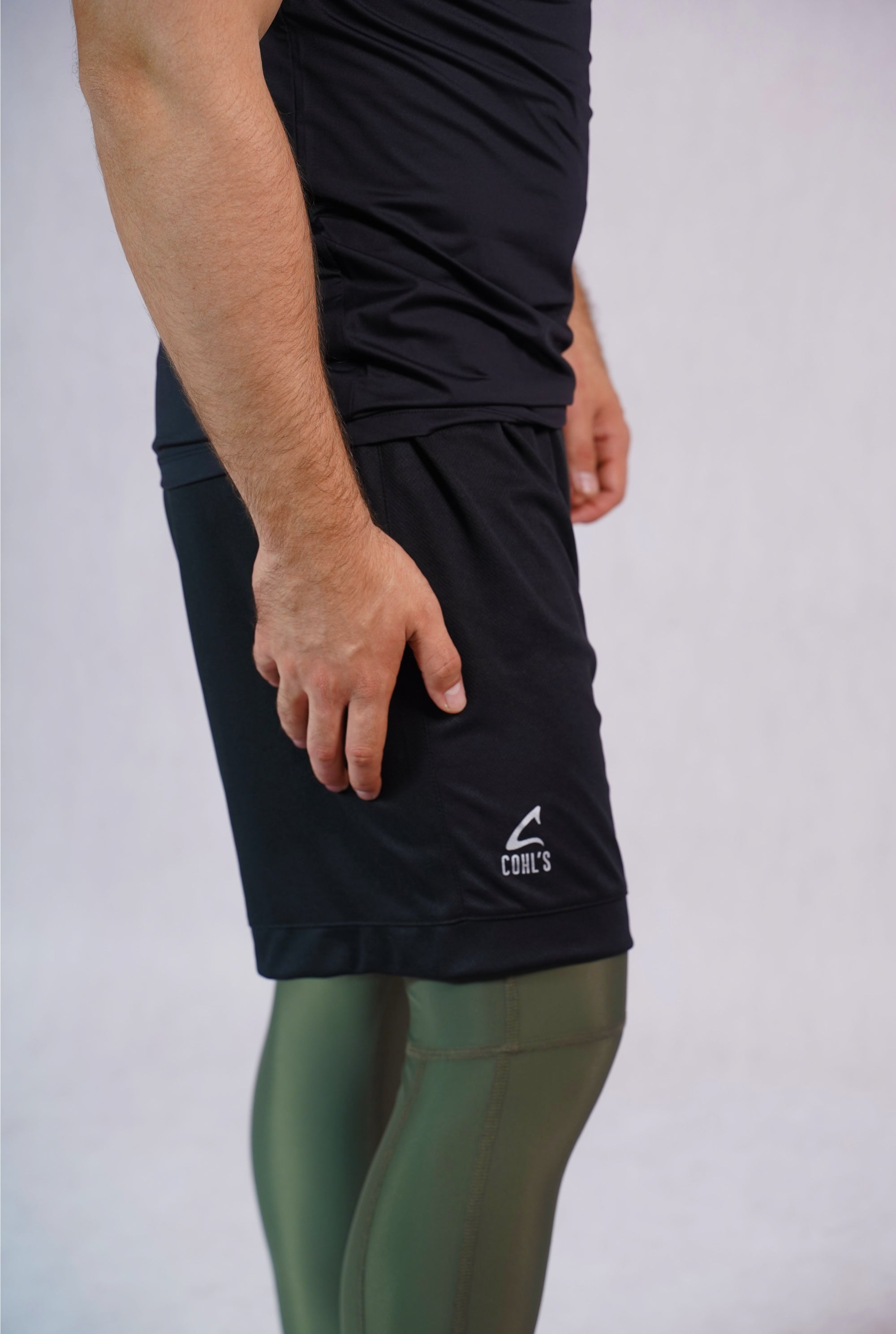 Polyester Shorts for  Men in Black Front - C210020