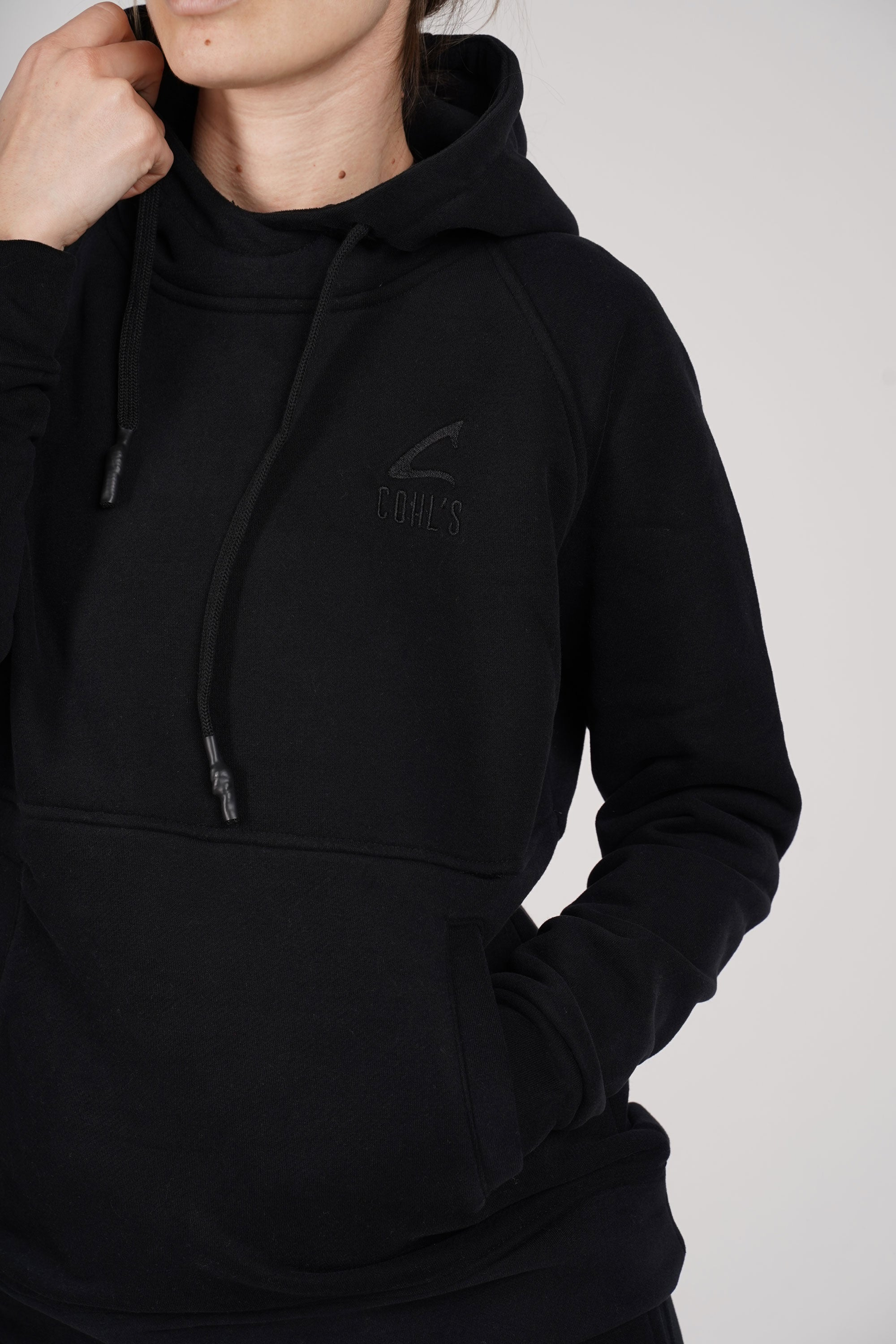 Black Basic Hoodie With side pockets - C162025