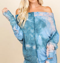 Load image into Gallery viewer, PLUS Blue Tie-Dye Off the Shoulder Top