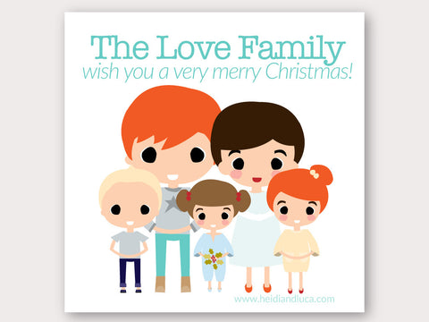 Christmas Greeting Card - A Big Family Portrait