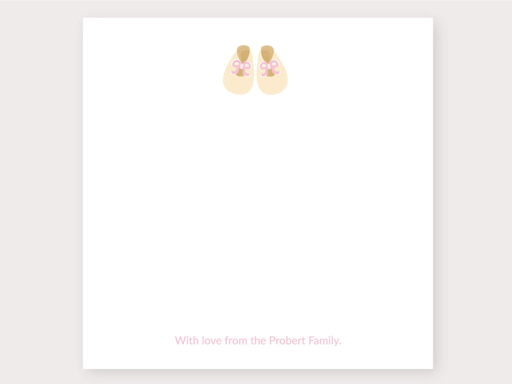 Baby Booties Pink Note Card