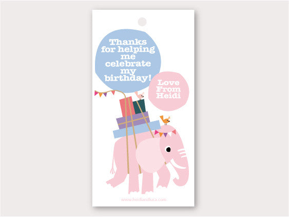Party Thank You Card - Elodie The Elephant