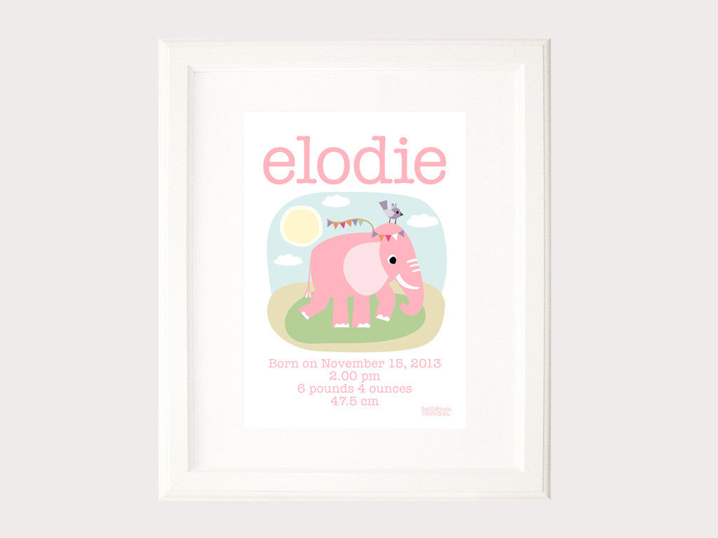 Birth Print - Elodie the Elephant