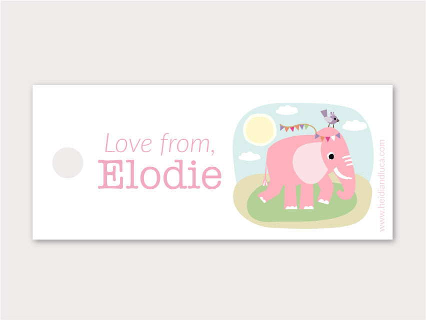 Petite Gift Tag - Elodie the Elephant