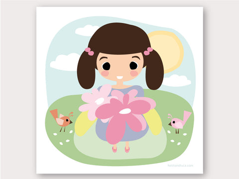 Greeting Card - Flower Girl