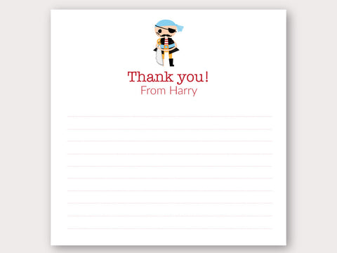 Pirate Thank You Note Card
