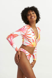 Zip Up Short Rash Guard Tropical Leaves