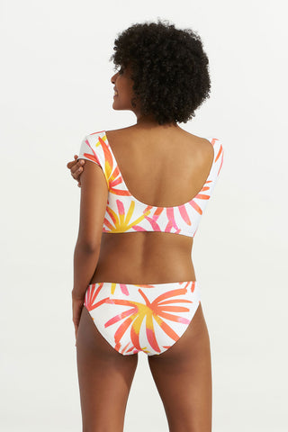 Wrap Crop-Top Tropical Leaves