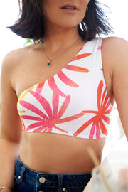 Bralette One Shoulder Tropical Leaves