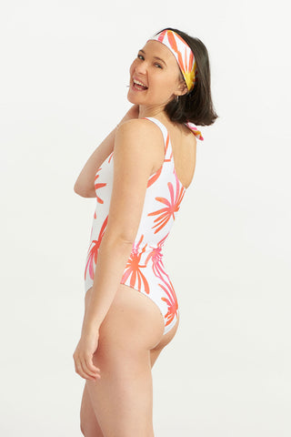 Asymmetrical Swimsuit Tropical Leaves
