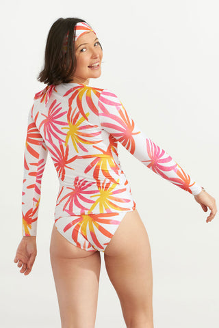 Zip Up Long Rash Guard Tropical Leaves