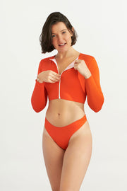 Zip Up Short Rash Guard Papaya Solo