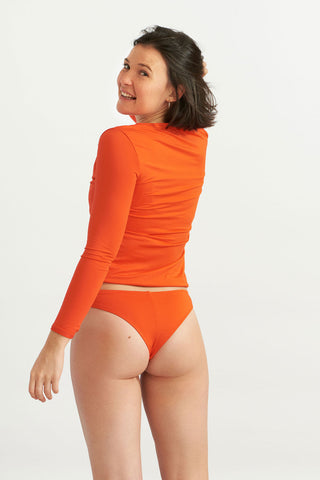 Zip Up Long Rash Guard Papaya Solo