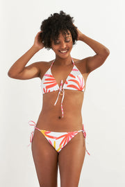 Classic Triangle Tie Up Bikini Top Tropical Leaves
