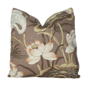 Mocha Lotus Garden Pillow Cover