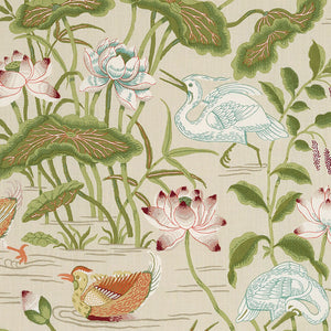 Parchment Lotus Garden Pillow Cover