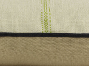 QUICK SHIP Ivory and Apple Green French Stripe Pillow Cover