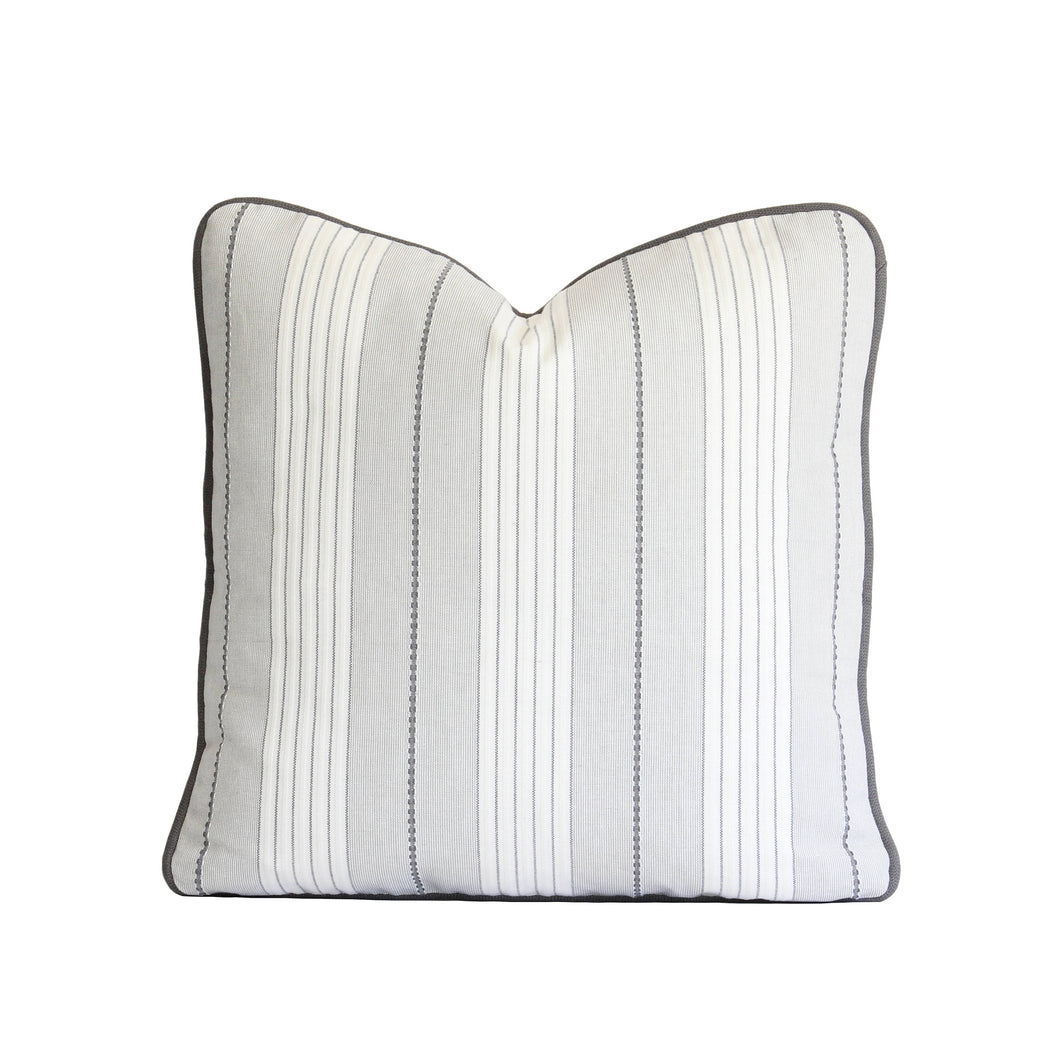 Grey Audrey Stripe Pillow Cover
