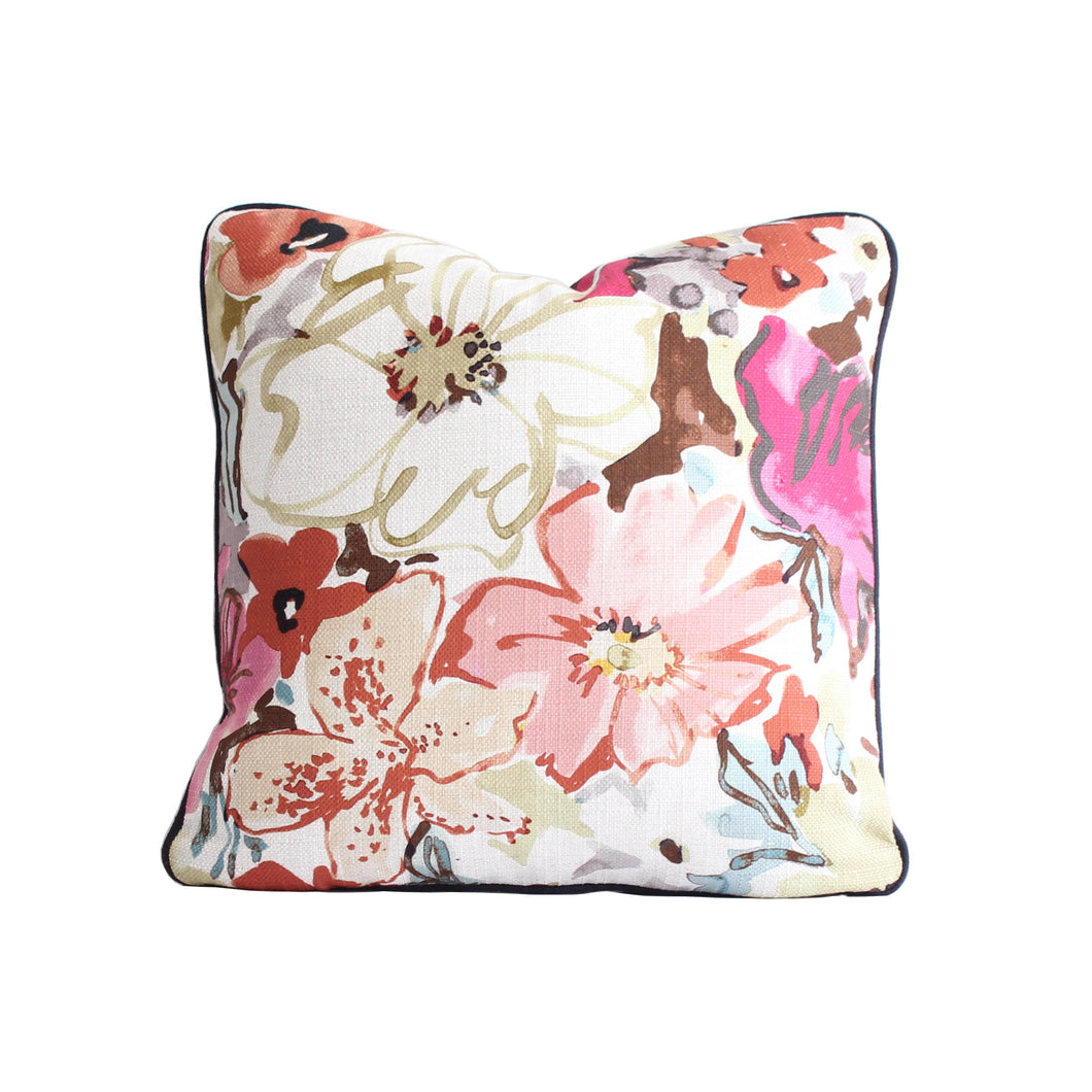 QUICK SHIP Pink, Blue, Orange, Brown, and Green Floral Pillow Cover