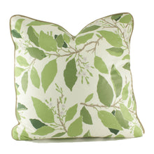 Load image into Gallery viewer, QUICK SHIP Ivory and Green Dogwood Leaf Pillow Cover with Tobacco Linen Piping