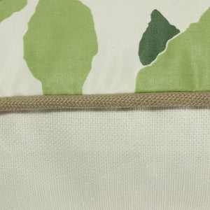 QUICK SHIP Ivory and Green Dogwood Leaf Pillow Cover with Tobacco Linen Piping