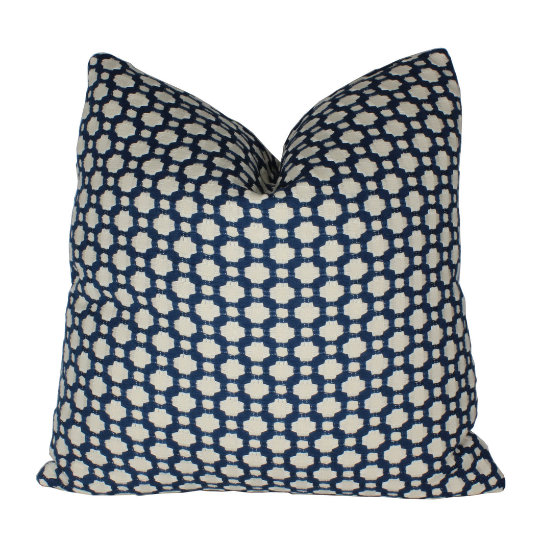 Indigo and Ivory Betwixt Pillow Cover