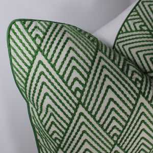 Green Avila Embroidery Pillow Cover