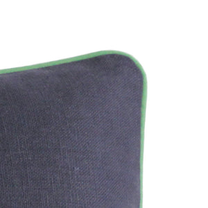 QUICK SHIP Navy Blue Linen Pillow Cover with Green Linen Piping
