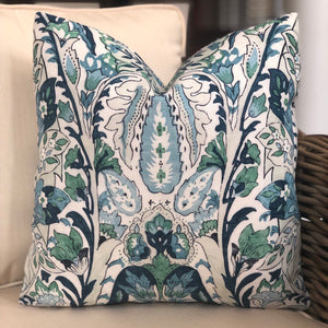 Blue and Green Layla Paisley Pillow Cover
