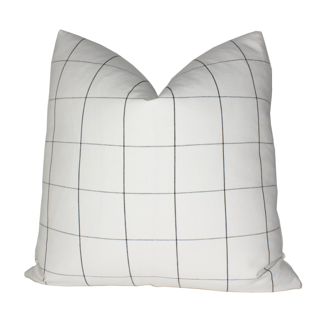 White and Black Window Pane Plaid Pillow Cover