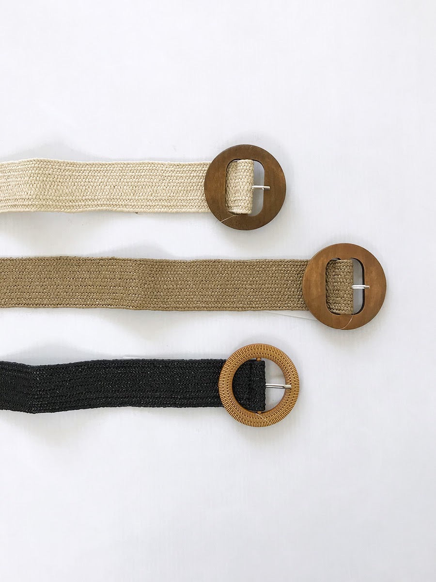 Rattan look Stretch Belt-3 colours