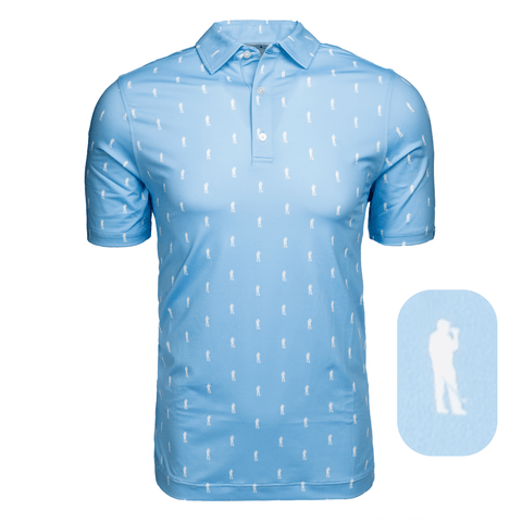 Here For Beer Pattern Polo-College Blue