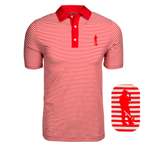 Here for Beer Classic Stripe Polo (Red)