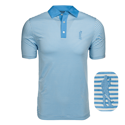 Here for Beer Classic Stripe Polo(College Blue)