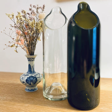 Handcrafted carafe in recycled glass