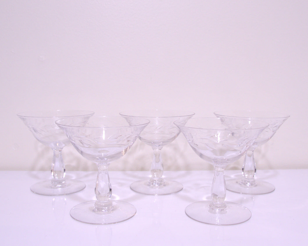 etched champagne coupes