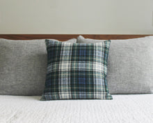 Load image into Gallery viewer, blue plaid wool pillow