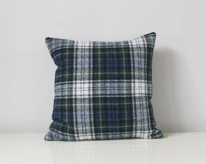 blue plaid wool pillow