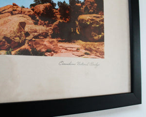 close up view of title of Owanchomo Natural Bridge photo caption