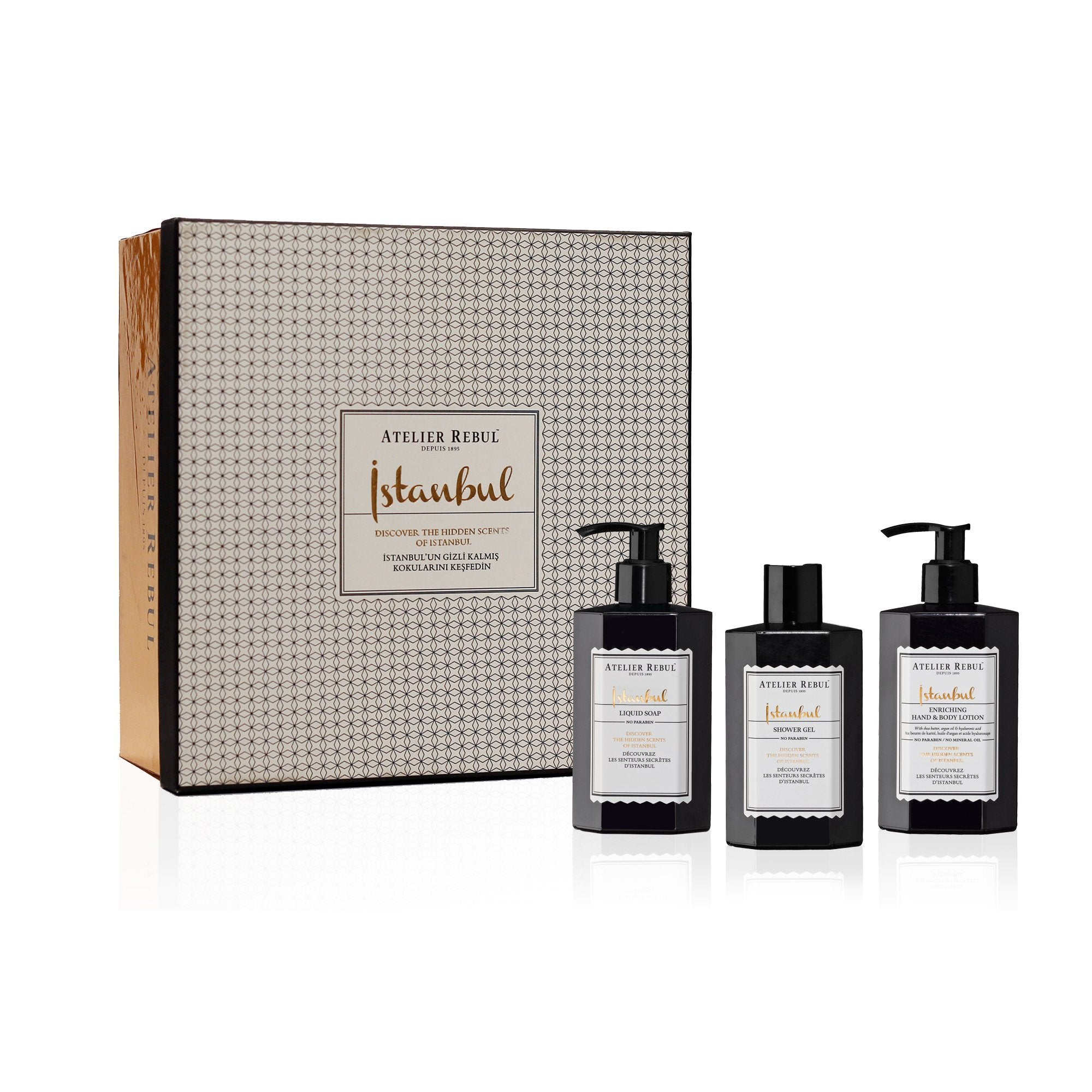 Istanbul Liquid Soap, Shower Gel and Hand & Body Lotion Giftset - Atelier Rebul