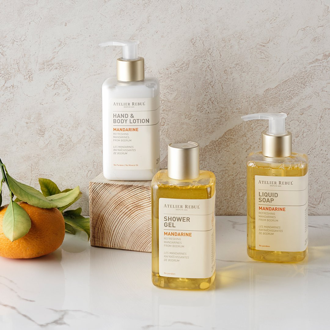 Mandarine Liquid Soap, Shower Gel and Hand & Body Lotion Giftset