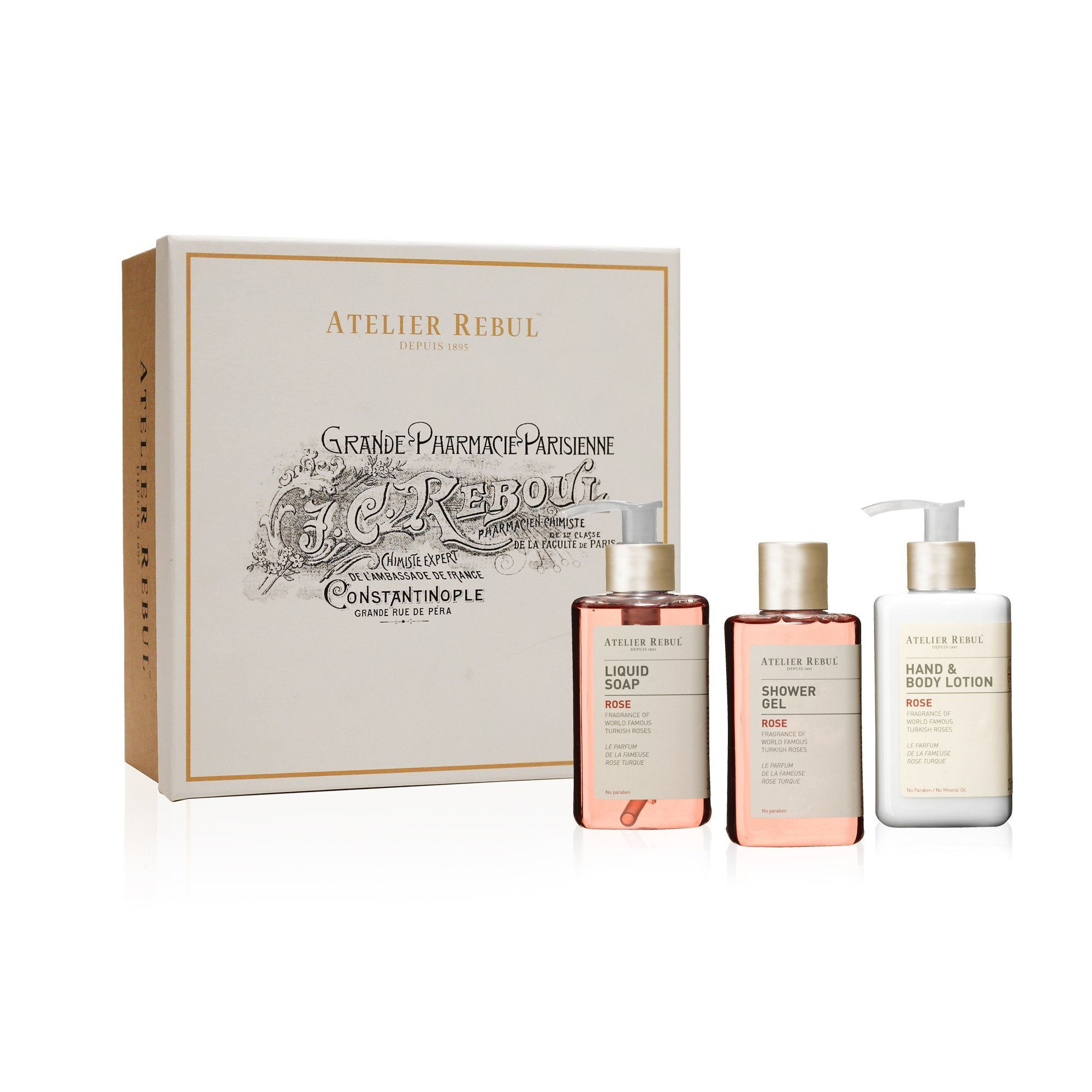 Rose Liquid Soap, Shower Gel, Hand & Body Lotion Giftset