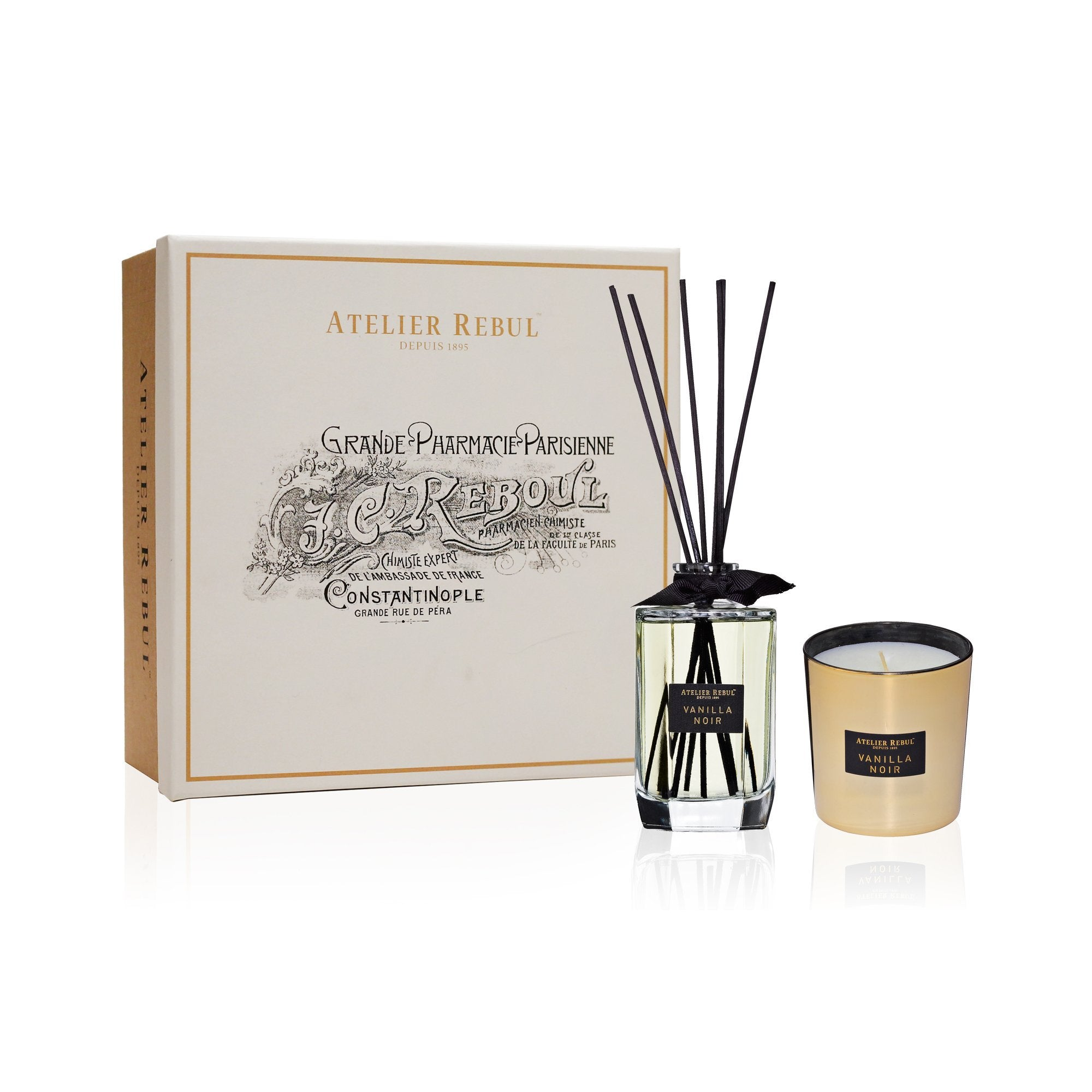 Vanilla Noir Fragrance Sticks and Scented Candle Giftset - Atelier Rebul