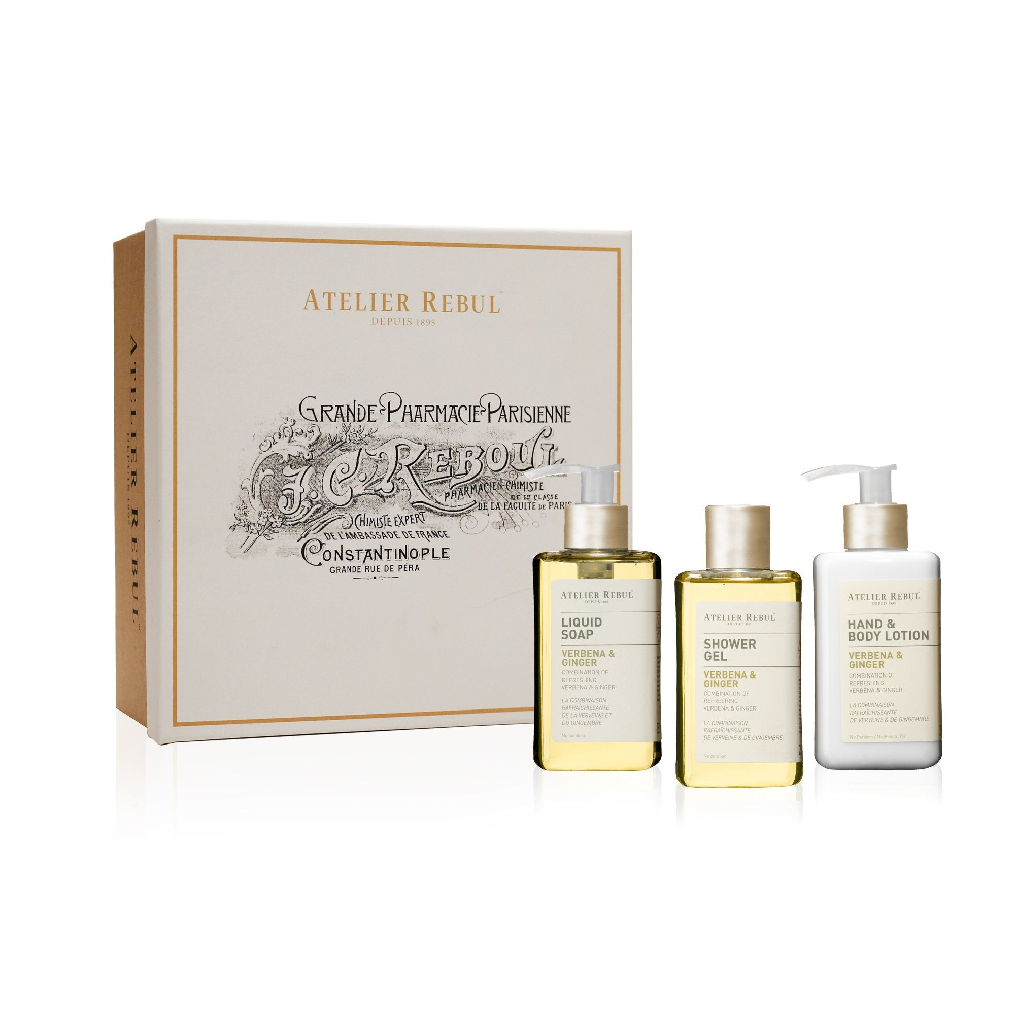 Verbena & Ginger Liquid Soap, Shower Gel and Hand & Body Lotion Giftset