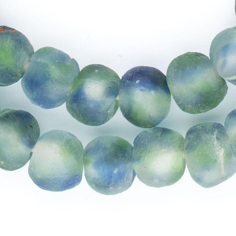 Blue, Green, White Recycled Glass Beads (14mm)
