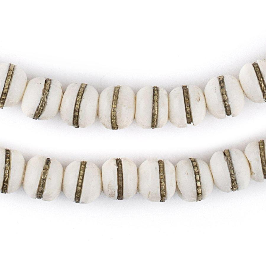 Brass-Inlaid White Bone Mala Beads (10mm)