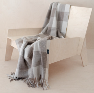 Recycled Wool Blanket - Tan Buffalo Check Tartan