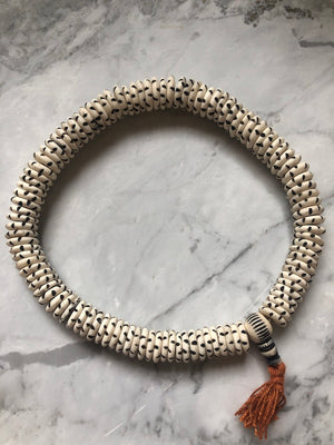 White Carved Disk Bone Mala Beads (13mm)